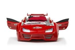 Das Beste Autobett Kinderbett GT 999 in rot mit Türen LED komplett Lattenrost Sound Fernbedienung von Möbel-Zeit -