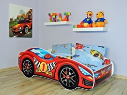 KAGU Autobett Kinderbett Juniorbett 160x80cm Rot inkl. Matratze u. Wandboard -