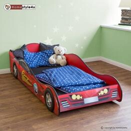 Rennwagenbett Autobett Kinderbett Spielbett Jugendbett Lattenrost Rot Bett -