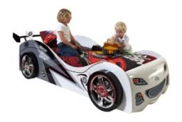 VIPACK SCBB200W Autobett Brap Brap, circa 229 x 65 x 110 cm, Liegefläche 90 x 200 cm, lackiert aufgedruckte Rennwagen-Optik, weiß -