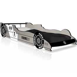 Autobett F1 Formel 1 Kinderbett Bett Schlafzimmer Kindermöbel Rennbett Spielbett Silber -