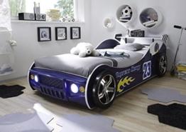 Autobett inkl Beleuchtung blau 90*200 cm Kinderbett Autorennbett Rennautobett Jugendbett Jugendliege Bettliege Einzelbett Kinderzimmer -