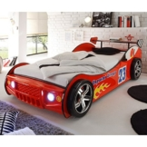 Autobett inkl Beleuchtung rot 90*200 cm Kinderbett Autorennbett Rennautobett Jugendbett Jugendliege Bettliege Bett Einzelbett Kinderzimmer -
