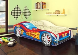 Autobett Junior in vier Farben mit Lattenrost und Matratze 70x140 cm Top Angebot! (Blau-Rot) -