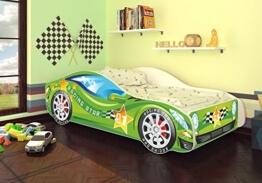 Autobett Kinderbett Bett Auto Car Junior in vier Farben mit Lattenrost und Matratze 70x140 cm Top Angebot! (Grün) -