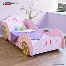 Fee Prinzessin Kinderbett Auto Kutsche Spielbett Jugendbett Lattenrost rosa Bett -